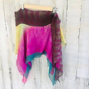 BCBG Max Azria SWIM Crinkle Chiffon Tie Dye Sarong
